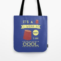 fez Tote Bags featuring I Wear A Fez Now by Posters 4 Progress