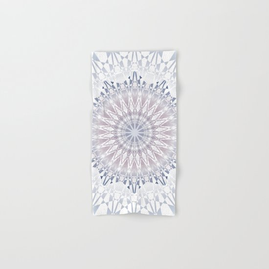 Blue  Taupe White Mandala Hand & Bath Towel