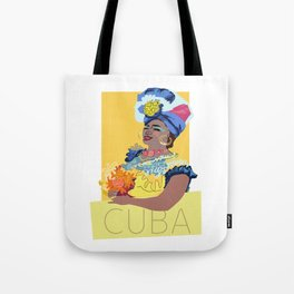 Cuban Lady With Flowers Tote Bag