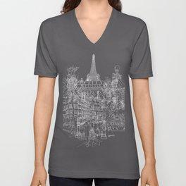 Paris B&W (Dark T-shirt version) Unisex V-Neck