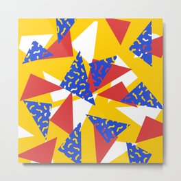 90's Triangles and Squiggles Metal Print