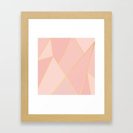 Elegant Pink Rose Gold Geometric Abstract Framed Art Print