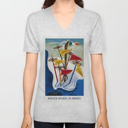 Vintage Winter Sports in France Skiing - Mountain Climbing Travel Advertising Poster Unisex V-Neck
