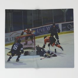 Dive for the Goal - Ice Hockey Throw Blanket