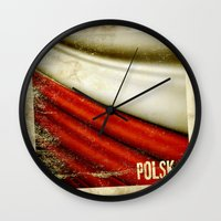 poland Wall Clocks featuring STICKER OF POLAND flag by Lulla