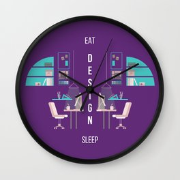 Eat Design Sleep  - Purple Wall Clock