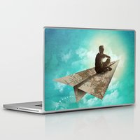 paper Laptop & iPad Skins featuring Paper Aeroplane by dan elijah g. fajardo