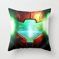 metroid Throw Pillows featuring Metroid by Joe Roberts