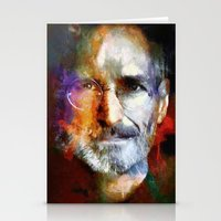 steve jobs Stationery Cards featuring Steve Jobs by Richard Michaud