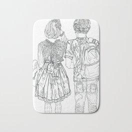 Geometric drawing Japanese couple black and white illustration Bath Mat