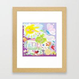 My happy world Doodle for children room Nursery home decor Framed Art Print