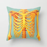 skeleton Throw Pillows featuring Skeleton by ShannonPosedenti