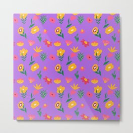 Purple Mini Flowers Metal Print