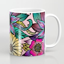 Floral Vibrant Hand Drawn Illustrated Flowers Coffee Mug