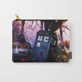 Tardis And Red Flowers Carry-All Pouch