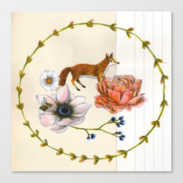 Fox in the Flowers - Flora & Fauna Canvas Print