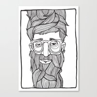 beard Canvas Prints featuring Beard by Lawerta