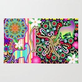 Mandalas, Cats & Flowers Fantasy Pattern Rug
