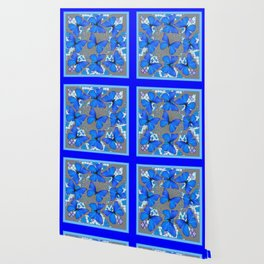 Decorative Blue Shades Butterfly Grey Pattern Art Wallpaper