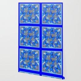 Decorative Blue Shades Butterfly Grey Pattern Art Wallpaper