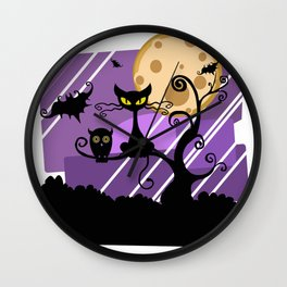 Scary Witch Cat Wall Clock