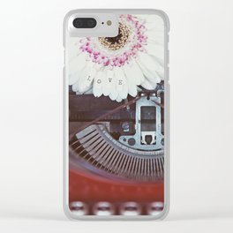 Message of Love Typewriter Clear iPhone Case