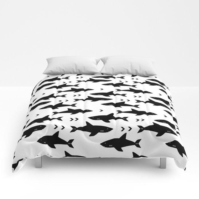 Sharks - shark week trendy black and white minimal kids pattern print Comforters