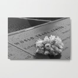 White Roses at the WTC Memorial Metal Print