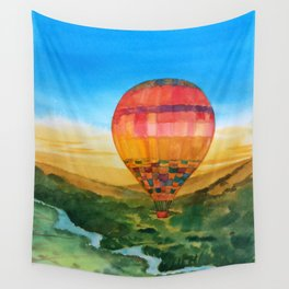 Red Hot Air Balloon Wall Tapestry