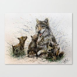 Good Morning wolf family watercolor Canvas Print