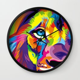 Colored Lion Wall Clock