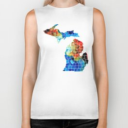 Michigan State Map - Counties by Sharon Cummings Biker Tank