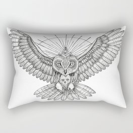 Mason Owl with skull, rule, compass and the eye that sees everything (tattoo style) Rectangular Pillow