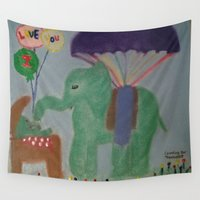 baby elephant Wall Tapestries featuring Elephant with Baby Elephant by SBHarrison