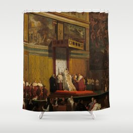Pope Pius VII in the Sistine Chapel Oil Painting by Jean-Auguste-Dominique Ingres Shower Curtain