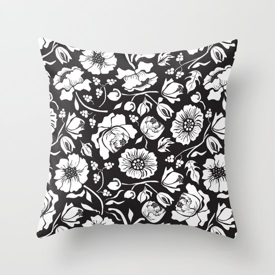 Black Russian Floral Throw Pillow