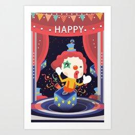 Happy Clown Fool Gift Art Print
