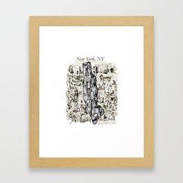 Hand-Drawn Map of New York City Framed Art Print