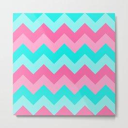 Hot Pink Turquoise Aqua Blue Chevron Zigzag Pattern Print Metal Print