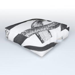 Interlock black and white paint swirls Outdoor Floor Cushion