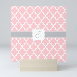 "Baby Pink Geometric Pattern with Silver ""E"" Monogram Mini Art Print"