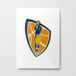 Basketball Player Jump Shot Ball Shield Retro Metal Print