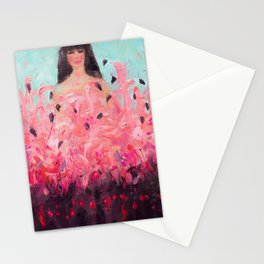 Pink Thoughts (A girl with flamingos) Stationery Cards