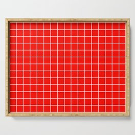 Candy apple red - red color - White Lines Grid Pattern Serving Tray