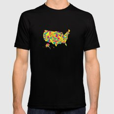 Abstract America Bright Earth Mens Fitted Tee MEDIUM Black