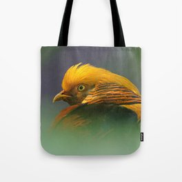 Emerging from the Green: Golden-Red Pheasant Tote Bag