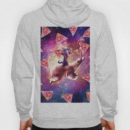 Thug Space Cat On Polar Bear Unicorn - Pizza Hoody