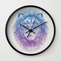kitty Wall Clocks featuring Face of a Lion by Rachel Caldwell