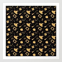Magic symbols (black) Art Print
