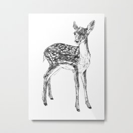 Ink drawing of a fawn Metal Print